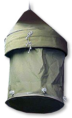 A ''Lister bag'' (aka ''Lyster bag'') — a rubberized canvas container used to store, purify (by the addition of chlorine), cool, and dispense potable water for troops deployed in the field and on the battlefront.
